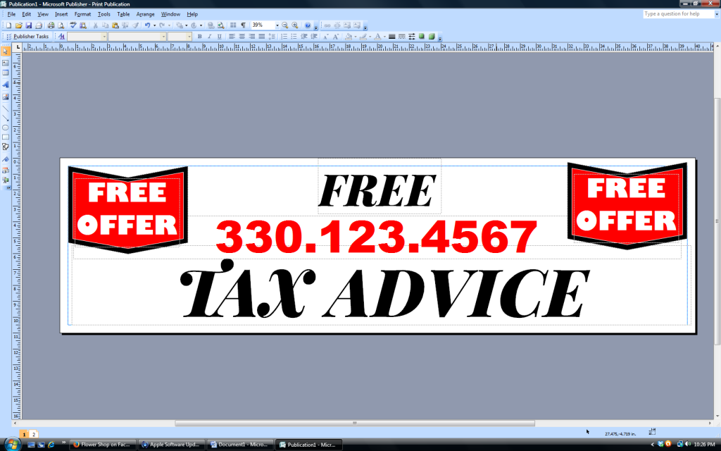 banner with text aligned center