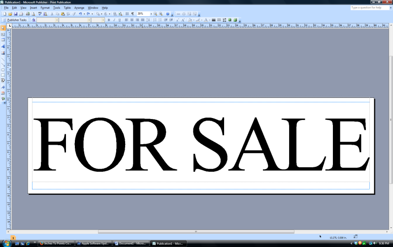 for sale sign in classic font